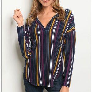 Navy multi striped slub knit long sleeve hoodie